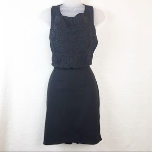 H&M Black Backless Mini Dress With Embroidery NWOT